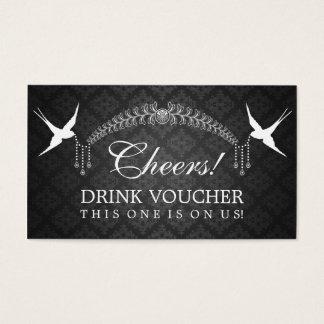 Elegant Drink Voucher Birds Monogram Black Business Card