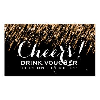 Elegant Drink Voucher Falling Stars Gold Business Card Template