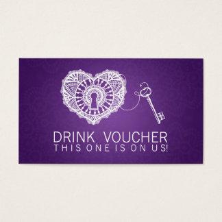 Elegant Drink Voucher Key To My Heart Purple Business Card