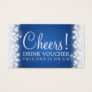 Elegant Drink Voucher Magic Sparkle Blue Business Card