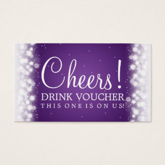 Elegant Drink Voucher Magic Sparkle Purple Business Card