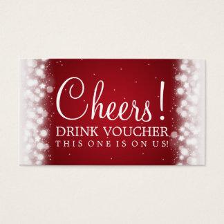 Elegant Drink Voucher Magic Sparkle Red Business Card