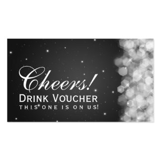 Elegant Drink Voucher Party Sparkle Black Double-Sided Standard Business Cards (Pack Of 100)