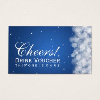 Elegant Drink Voucher Party Sparkle Blue Business Card