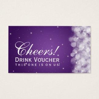 Elegant Drink Voucher Party Sparkle Purple Business Card