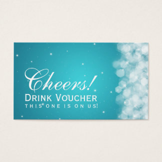Elegant Drink Voucher Party Sparkle Turquoise Business Card