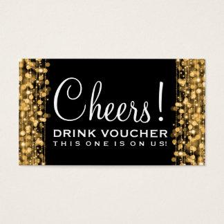 Elegant Drink Voucher Party Sparkles Gold Business Card
