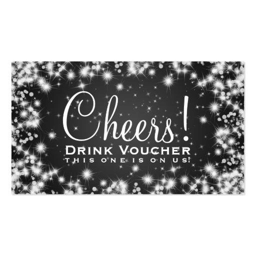 Elegant Drink Voucher Party Winter Sparkle Black Business