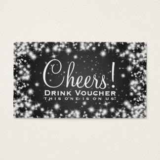 Elegant Drink Voucher Party Winter Sparkle Black Business Card