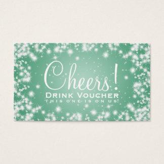 Elegant Drink Voucher Party Winter Sparkle Mint Business Card