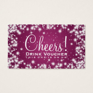Elegant Drink Voucher Party Winter Sparkle Pink Business Card