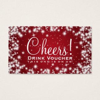 Elegant Drink Voucher Party Winter Sparkle Red Business Card