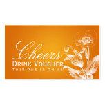 Elegant Drink Voucher Poppy Orange Business Card