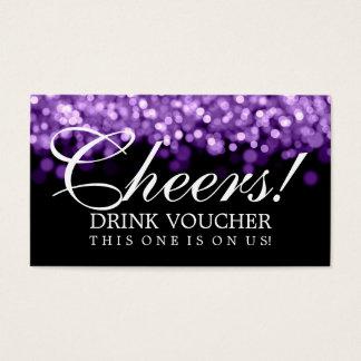 Elegant Drink Voucher Purple Lights Business Card