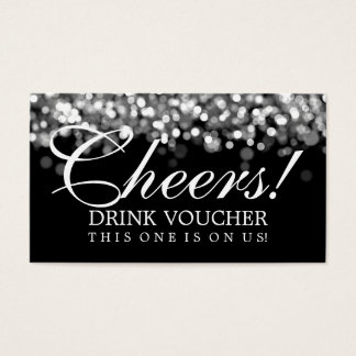 Elegant Drink Voucher Silver Lights Business Card