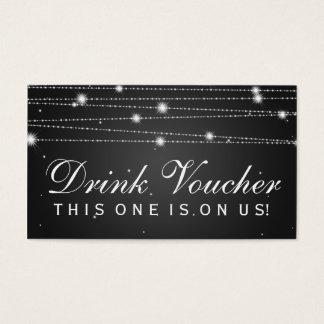 Elegant Drink Voucher Sparkling Lines Black Business Card