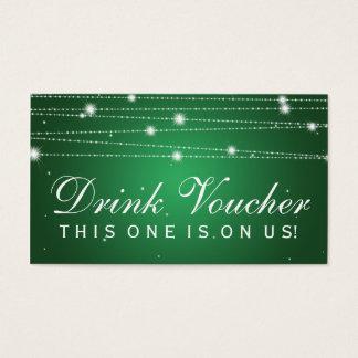 Elegant Drink Voucher Sparkling Lines Emerald Business Card