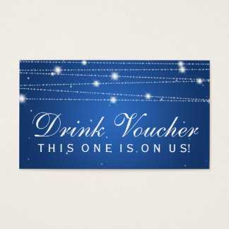 Elegant Drink Voucher Sparkling Lines Sapphire Blu Business Card