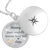 Elegant Drive Carefully Silver quote Locket Necklace