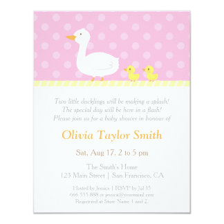 Elegant Duck Twin Girls Baby Shower Invitations