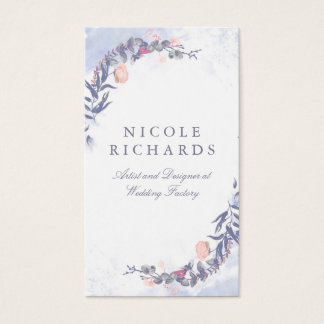 Elegant Dusty Blue and Blush Watercolor Flowers Business Card