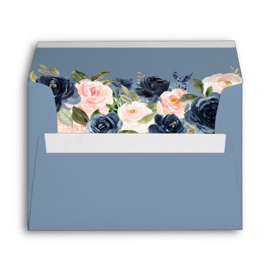 Elegant Dusty Blue and Pink Blush Floral Wedding Envelope