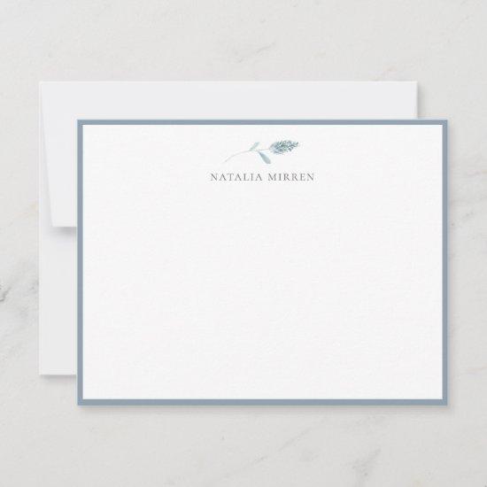 Elegant Dusty Blue Botanical Note Card