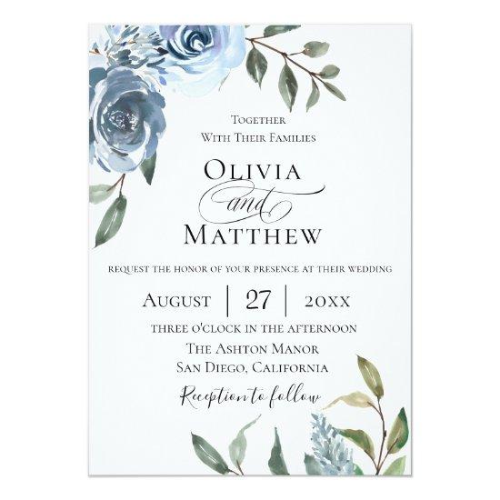 Elegant Dusty Blue Botanical Wedding Invitation