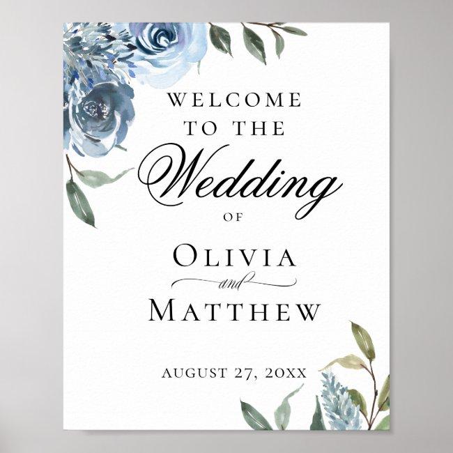 Elegant Dusty Blue Botanical Wedding Welcome Poster