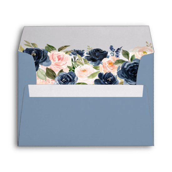 Elegant Dusty Blue Pink Blush Floral Wedding Envelope