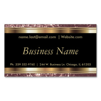 Elegant Dusty Rose and Black and Gold Business Card Magnet