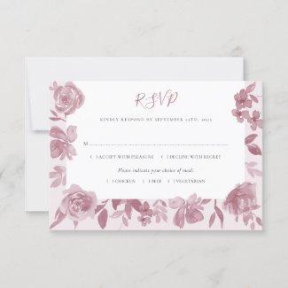 Elegant Dusty Rose Watercolor Floral Wedding RSVP