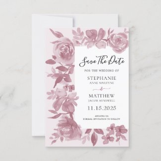Elegant Dusty Rose Watercolor Floral Wedding Save The Date