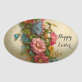 ELEGANT EASTER EGG WITH COLORFUL  FLOWERS OVAL STICKER