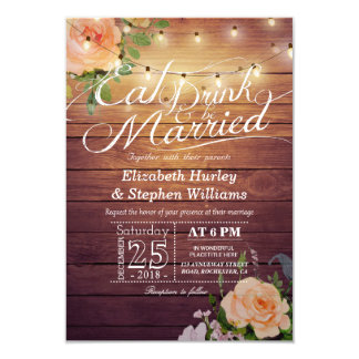 Elegant EAT Drink U0026amp; Be Married Wedding Invitations