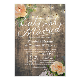 Superb Elegant EAT Drink U0026amp; Be Married Wedding Invitations