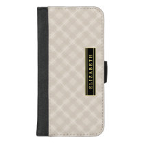 Elegant Ecru Plaid Pattern with Name iPhone 8/7 Plus Wallet Case