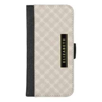 Elegant Ecru Plaid Pattern with Name iPhone 8/7 Plus Wallet Case