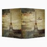elegant effiel tower vintage paris wedding 3 ring binders