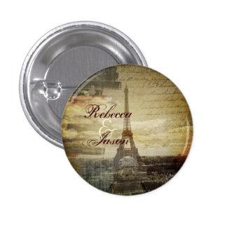 elegant effiel tower vintage paris wedding 1 inch round button