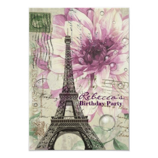 elegant eiffel tower floral vintage birthday party 3.5x5 paper invitation card
