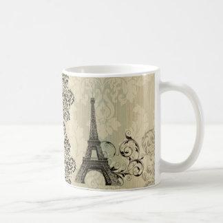 elegant eiffel tower floral vintage paris classic white coffee mug