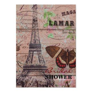 elegant eiffel tower floral vintage paris 4.5x6.25 paper invitation card
