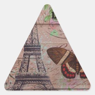 elegant eiffel tower floral vintage paris triangle sticker