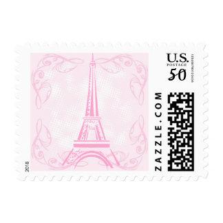 Elegant Eiffel Tower Paris Pink Postage