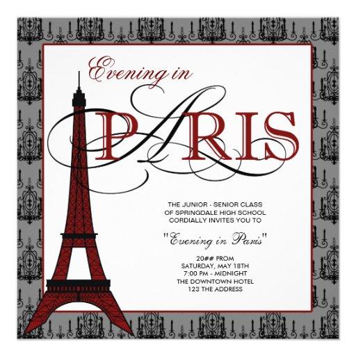 Elegant eiffel tower paris prom square paper invitation card zazzle - Salon des seniors paris invitation ...