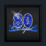 "Elegant Eighty Sparkle Gift Box<br><div class=""desc"">This classy design features a giant,  blue faux-glitter &#39;80&#39;,  script text &#39;Elegant&#39; on a ribbon banner over a black background. Search ID191 to see this design for other ages and on additional products.</div>"
