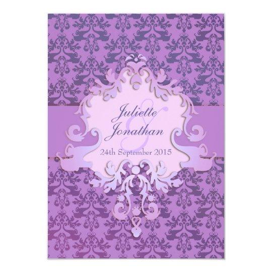 Elegant elephant damask purple wedding invitation