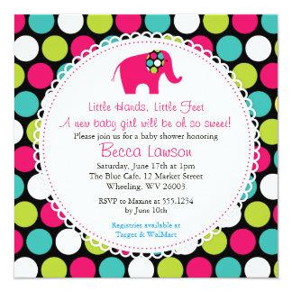 "Elegant Elephant Polkadots Baby Shower Invitations 5.25"" Square Invitation Card"