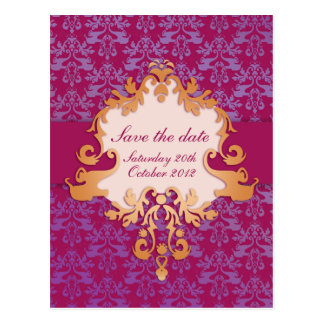 Elegant elephant save the date purple/gold card